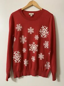 womens loft sweater large Snow Flake Red And White  Long Sleeve Winter