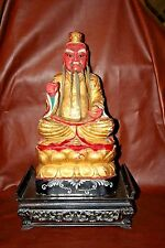 "Antique Chinese Solid Wood Carved 20"" Caishen God of Wealth Buddha Statue w Base"