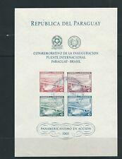 PARAGUAY 1961 Inaguration of the PARAGUAY BRAZIL bridge souvenir sheet Cancelled