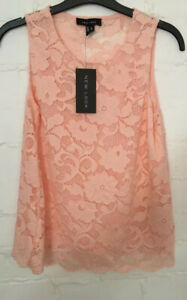 New Ladies Coral Scallop Lace Top Size 8 New Look