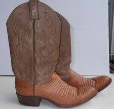 Vintage 1980'S Justin Boots Two Tone Brown Leather And Lizard 9.5D