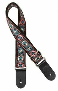 """Gaucho Woven Jacquard Style Guitar Strap Black/Pink/Turquoise - 2"""" Wide"""