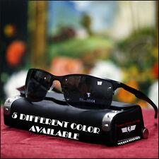 Men's Khan Sport Sunglasses Fashion Semi-Rimless Stylish Biker Matt Black