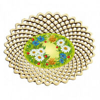 Cookie Snack Chips Candy Serving Plate Platter Bowl Dish w/ Daisy Flower Pattern