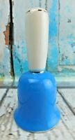"Vintage Porcelain Blue & White w/Gold Stripe Figurine Bell 5-1/2"" Tall"