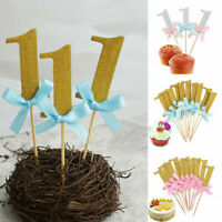 10Pcs First Birthday Cupcake Topper 1st Party Decorations Baby Boy Girl Supplies
