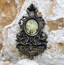 bénitier bronze avec 2 Ange-Gardien récipient mural de l'eau bénite Bassin Dieu