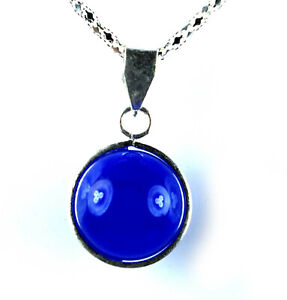 Natural African Blue Sapphire Silver Women's Bridal Pendant 35.85 Ct Round Ball