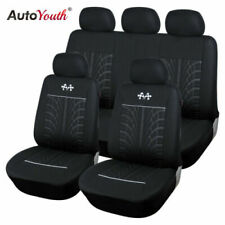 Car Seat Cover Protector Car Interior Decoration Full Set of Front + Rear Black (Fits: Saab)