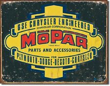 Mopar 1937-1947 Logo Chrysler Corp. TIN SIGN Metal Vintage Garage Wall Poster Ad