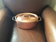 WILLIAMS SONOMA Mauviel Copper Oval Stew & Lid 7 Qt NEW