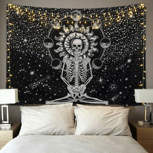 Indian Skull Tapestry Wall Hanging Mandala Hippie Bedspread Throw Cover Blanket