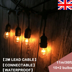 3 Sets 36ft Mains Power Waterproof S14 Festoon String Lights for Christmas Party
