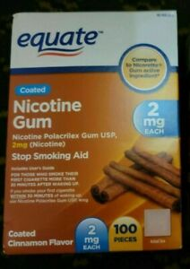 Equate Coated Nicotine Gum, Cinnamon Flavor, 2 Mg, 100 Count - Sealed Exp 10/23