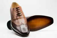 Mens Handmade Shoes Tan & Brown Leather Oxford Brogue Wingtip Lace Up Formal New