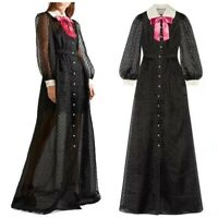 Womens Designer Inspired Chiffon Long Dress Polka Dot Bowtie Long Sleeve Party L