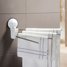 Bathroom 4 Swing Arm Stainless Steel Towel Bar Towels Rack Holder Wall Hanger