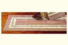 """New Country Primitive Burgundy Wine Check BERRY VINE Table Runner Extra Long 54"""""""