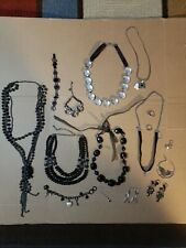 Costume Jewelry Lot of Necklaces, Bracelets, Rings, Earrings.. BLACK & SILVER