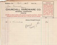 U.S. Churchill Hardware Co. Roseburg 1917 Six Chisels Paid Invoice Ref 42621