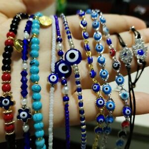 Handmade Evil Eyes Blue Lucky Beads Charms Bracelet Bangle Braided Women Gift