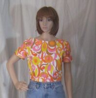 Vintage Psychedelic Shirt Top Blouse 1960s Mod Hippy Boho Cropped Small
