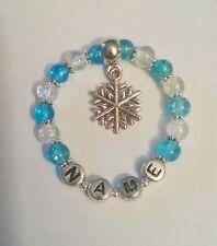Frozen Inspired Personalised Snowflake Charm Beaded Bracelet Girl Birthday Gift