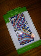 NWT Vera Bradley iPhone 5 Phone Case Slide Frame Marina Paisley Blue Red Yellow