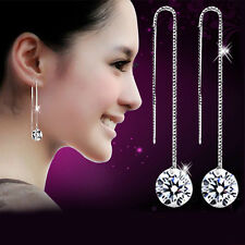 E002# Ladies 925 Sterling Silver Zircon Crystal Long Drop/Dangle Hoop Earrings