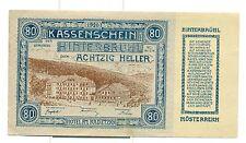 OLD AUSTRIA EMERGENCY PAPER MONEY - HELLER HINTERBRUHL 80 blue