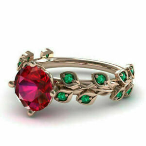 2Ct Round Cut Red Ruby & Emerald  Flower Engagement Ring 14k Rose Gold Finish