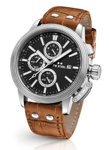 TW Steel Men's CEO Adesso 7003 48mm Leather Strap Chronograph Watch RRP499
