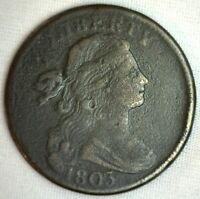 1803 Draped Bust Copper Large Cent Early Penny Type Coin S256 Variety FINE 1c