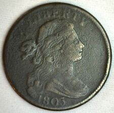 1803 Draped Bust Copper Large Cent Early Penny Type Coin S256 Variety FINE M17