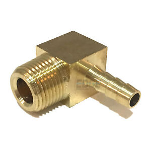 1/4 HOSE BARB ELBOW X 3/8 MALE NPT Brass Pipe Fitting Thread Gas Fuel Water Air