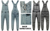 Men's Denim Acid Wash Full Length Dungarees Jeans Mid Bib Overalls Size XS - XXL