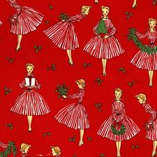 Michael Miller Retro Christmas Fabric-HOLIDAY HOSTESS- yards