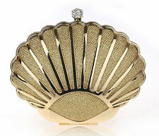Women gold party evening Mini clutches phone Clutch Hard Alloy wallet Shell  bag
