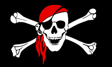 """New Bandanna Skull Pirate Flag with 24"""" Wooden Stick Pole"""