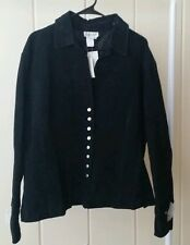 NEW Coldwater Creek Classic Black Suede Leather Button Up Jacket Sz 3X