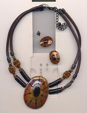 CHICO'S  DOUBLE  STRAND BEADS  PENDANT NECKLACE WITH EARRINGS Tortoise