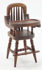 Dollhouse Miniatures 1:12 Scale High Chair, Walnut #CLA10385