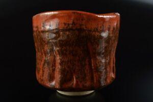 L7721: Japanese Seto-ware Red glaze TEA BOWL Green tea tool, auto Tea Ceremony