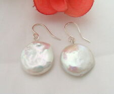 White Coin Pearl Earring-925  Sliver Hook