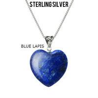 """Blue Lapis Lazuli Heart Pendant Necklace 18"""" Chain Blue Heart Necklace Pendant"""