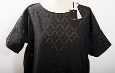*BYBLOS* black popeline cotton devore T top blouse diamond pattern NEW UK 12