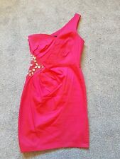 Ladies Pink Lipsy Party Dress With Dominates Size 8