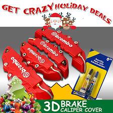 4x 3D Brembo Real Brake Caliper Cover Red w/Glue For Holden VZ VE BR UTE VU VY