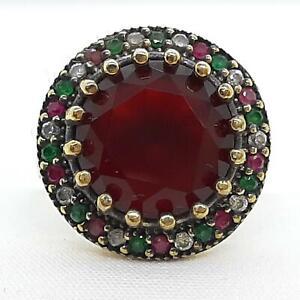 Deco 8.65ct Ruby, Emerald & Diamond Cut Sapphire 14K Yellow Gold 925 Ring SZ 7.5
