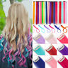 10 peices Highlight Clip In Colored Hair Extension Color Strip Straight Curly US